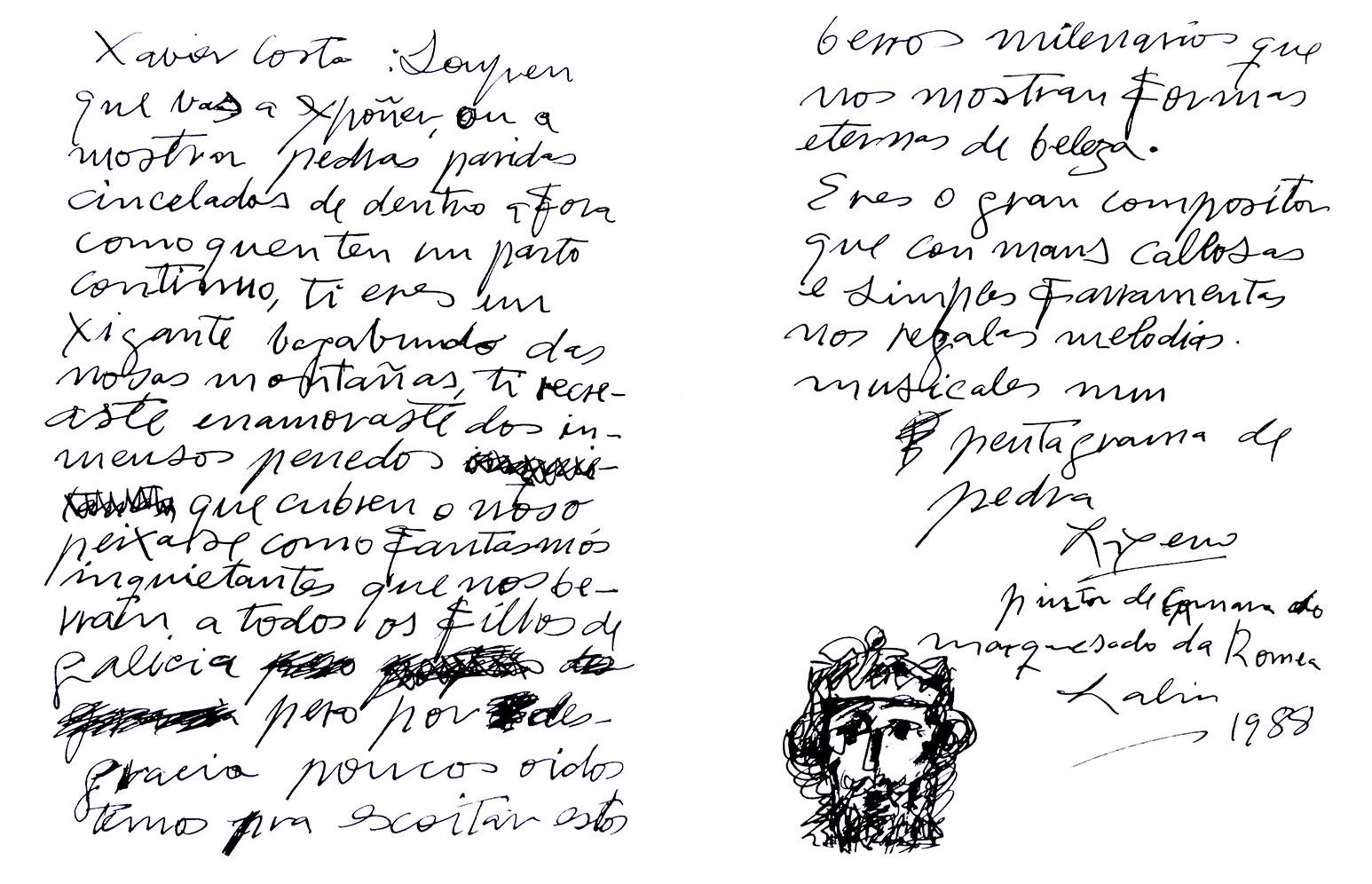 Manuscrito del pintor Laxeiro sobre el escultor Xavier Costa.